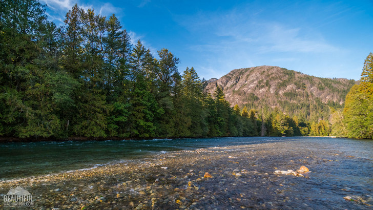 Photo taken from the Skagit River Trail, North Cascades, Washington.