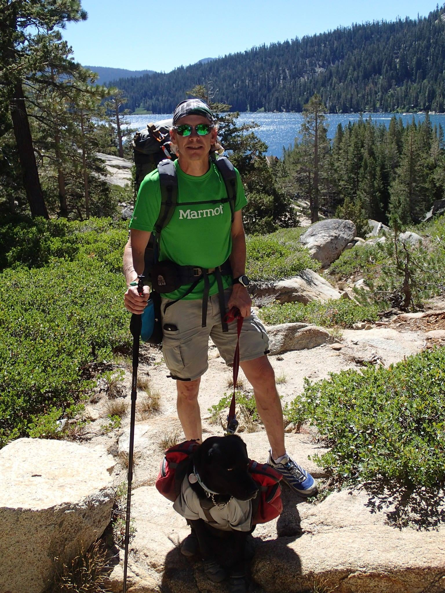 Photo of Trevor Thomas and Tennille taken from the Tahoe Rim Trail