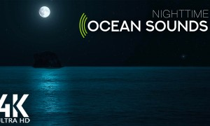 8 HRS Gentle Ocean Waves Sounds for Relaxation and Deep Sleep - 4K Lonely Rock in the Ocean at Night