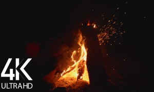 4K/4K HDR Campfire - 8 Hours of Crackling Fire Sounds