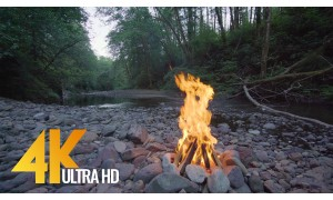 4K Relax Video - Campfire near the River. Episode 1 - 3 HRS