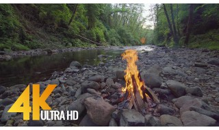 4K Relax Video - Campfire near the River. Episode 2 - 3 HRS