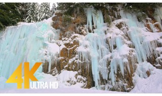 Awesome Frozen Waterfall - 4K Winter Relax Scenery / Nature Sounds/ 1 HR