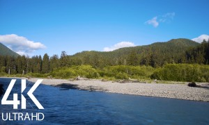 4K Summer Footage – Hoh River Soundscape – Water Sound Loop – 10 HRS