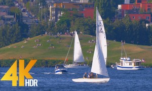 4K HDR/4K Urban Relaxation Video | Nature Sounds - Seattle Lake Union Park - 3 HRS