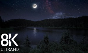 8K/8K HDR Magical Night at Reflection Lake - 10 HRS Nighttime Video