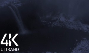 10 HOURS of White Noise - Falling Water Sounds - 4K Night Magic of Winter Waterfall