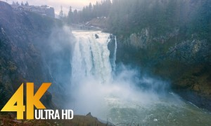 4K Snoqualmie Falls after Heavy Rain, Washington - 8 HRS