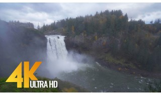 4K Snoqualmie Falls in Autumn. Episode 1 - 4K Nature Relax Video with the views of the Waterfall