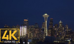 Night Space Needle and Night Seattle - UHD Urban Cityscapes Relaxation Video