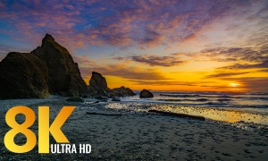 8K Spectacular Sunset Nature Scenery at Ruby Beach - Relaxation Video + Nature Sounds - Episode #1