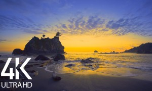 8HRS Soothing Song of Ocean Waves at the Sunset - 4K Amazing Decline of the Day at Ruby Beach