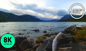 Virtual Nature 8K 360° VR - Mountain Lake Virtual Relaxation - Relax to Lake Lapping Wave Sounds