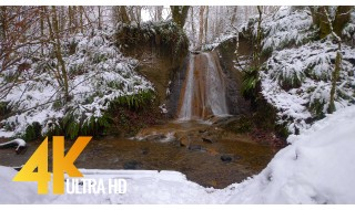 Winter Waterfall - 4K Nature Relax Video with Nature Sounds - 1 HR