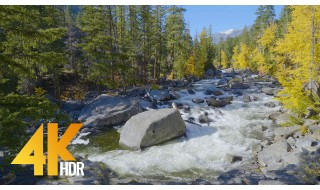 4K HDR/4K Nature Relax Video - Wenatchee River from Icicle Creek Road - 3 HRS