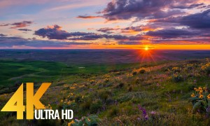 4K Sunset at Steptoe Bute State Park - UHD Relax Video - 1 HR Nature Sounds