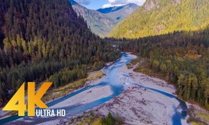 Above the Baker Lake Area, Washington State - 4K Aerial Footage - 1.5 HRS