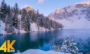 Amazing Winter Scenery from Blue Lake Trail - 4K Mountain Lake Relaxation Video with Nature Sounds