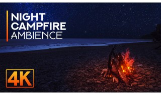 4K/4K HDR Night Campfire on Rialto Beach - 8HRS Relaxing Sounds of Night Ocean and Crackling Fire - Part #2