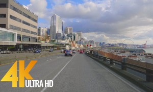 4K Seattle Streets. Car Drive - 4K Urban Relax Video