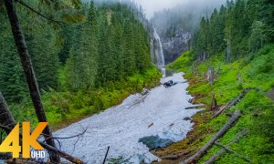 4K Amazing Nature Scenery & Waterfall Sounds - Comet Falls in Slow Motion, Mount Rainier Area