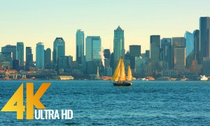 4K Cityscapes/Urban Life Relax Video - Seattle: Views from Don Armeni Boat Ramp - 2.5 HRS