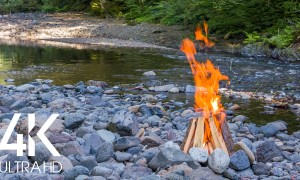 4K/ 4K HDR River & Campfire Unity. Part #3 - Nature Soundscape Video - 8 HRS
