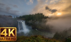 4K Nature Relaxation Footage - Snoqualmie Falls, Washington State - 2 HRS