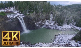 4K Winter Scenery with Nature Sounds - Snoqualmie Falls. Winter