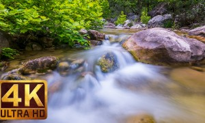 4K Nature Relax Video/Water - Clear Mountain Stream - 2 HRS