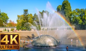 4K Relax Video with Soothing Music - International Fountain in Seattle - 2 HRS