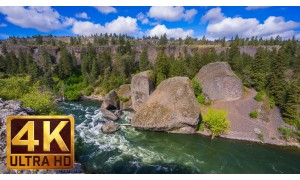 4K Relaxation Video with Nature Sounds - Bowl and Pitcher Trail in Riverside State Park - 7 HRS