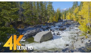 4K Nature Relax Video - Wenatchee River from Icicle Creek Road - 3 HRS