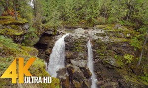 4K Nature Relaxation Video - Nooksack Falls, Mount Baker Area - 2.5 HRS