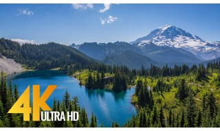 4K Nature Relax Video - Mount Rainier. Summertime - 2 HRS