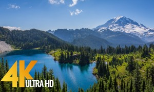 4K Nature Relax Video - Mount Rainier. Summertime - 2 HRS