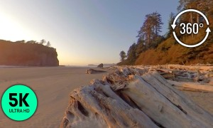 360° VR Sunset at Ruby Beach, Olympic National Park - 5K Video