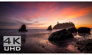 Sunset at Ruby Beach - Nature Relaxation Video in 4k - 2 hours