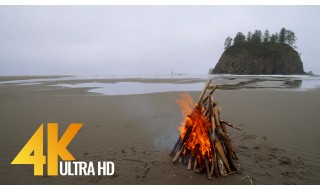 4K HDR 10-bit color Second Beach, Olympic National Park - Relaxing Campfires with Waves Sounds - 3 HRS