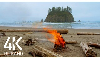 4K/4K HDR Campfire. Second Beach. Olympic National Park