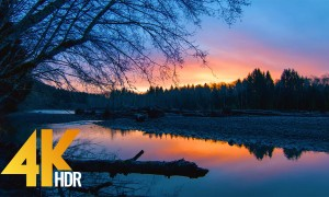 Sunrise at Hoh River - 4K HDR/4K Nature Relax Video - 1 HR