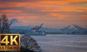 4K Urban Relax Video - Views from Olympic Sculpture Park in Seattle. Episode 2 - 1.5 HRS