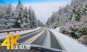 4K Winter Roads from inside the Car – North Cascades Highway 20 – Scenic Drive Video – Part #1
